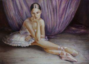 Vali Irina Ciobanu - tablou pe piele, tempera si ou- Balerina- privind spre sine