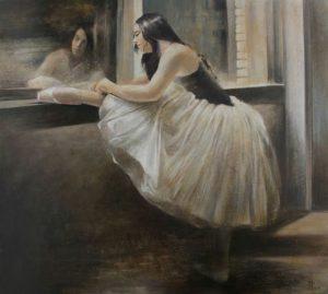 Vali-Irina-Ciobanu- tablou prim balerina - tempera si ou pe piele