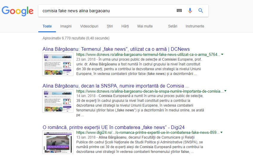 Alina Bargaoanu in Comisia la nive inalt fake news