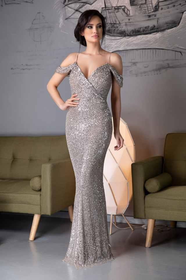 rochie de seara zonia - argintie, lunga