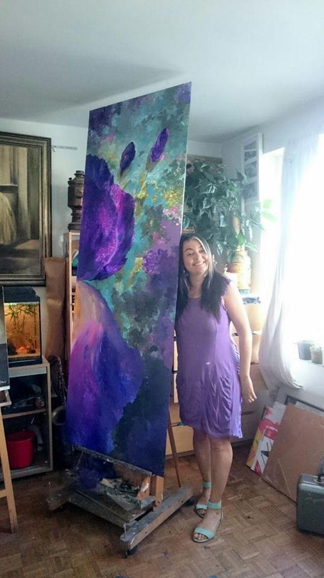 Vali Irina Ciobanu - tablou cu flori de mari dimensiuni